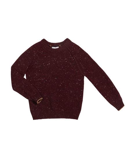 Brunello Cucinelli Boy's Speckled Tweed Hooded Sweater, Size 4-6