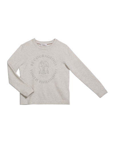 Boy's Be Courageous Graphic Cashmere Sweater  Size 8-10