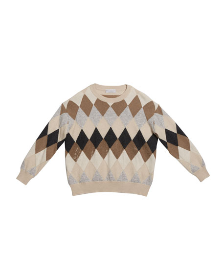 Brunello Cucinelli Girl's Argyle Wool-Blend Sweater with Paillettes, Size 4-6