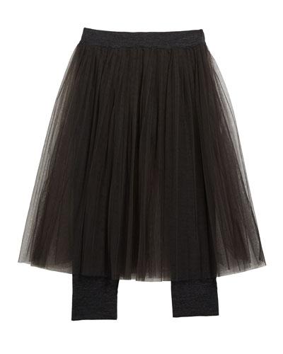 Girl's Tulle Skirt with Jersey Leggings  Size 4-6