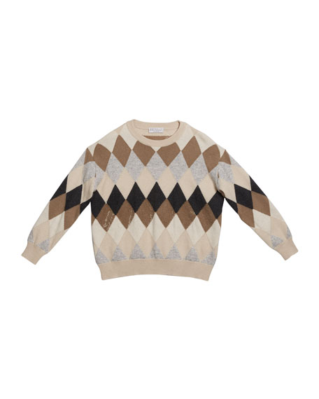 Brunello Cucinelli Girl's Argyle Wool-Blend Sweater with Paillettes, Size 12