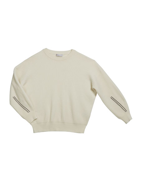 Brunello Cucinelli Girl's Cashmere English Rib Sweater w/ Monili Sleeve Trim, Size 4-6