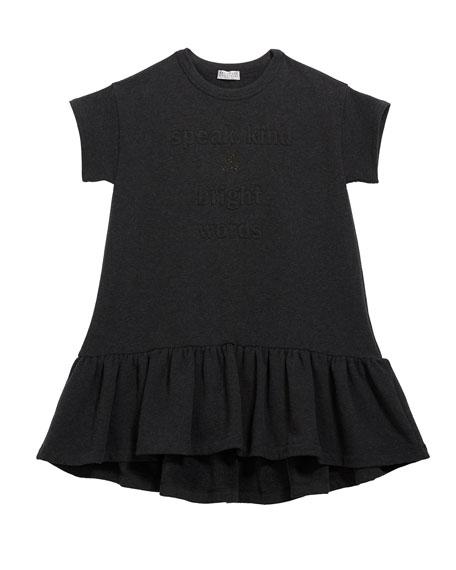 Brunello Cucinelli Girl's Ruffle-Hem Jersey Dress w/ Monili & Wording, Size 4-6