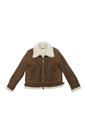 Brunello Cucinelli Girl's Shearling Zip Front Jacket w/ Monili Trim, Size 8-10