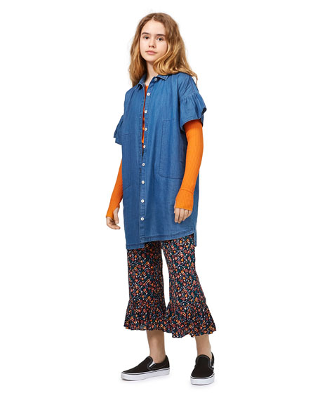 Image 2 of 3: Molo Girl's Carey Frill Sleeve Chambray Shirt Dress, Size 5-16