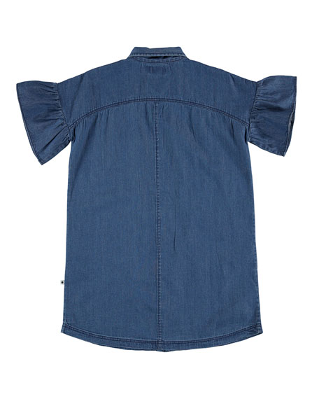 Image 3 of 3: Molo Girl's Carey Frill Sleeve Chambray Shirt Dress, Size 5-16