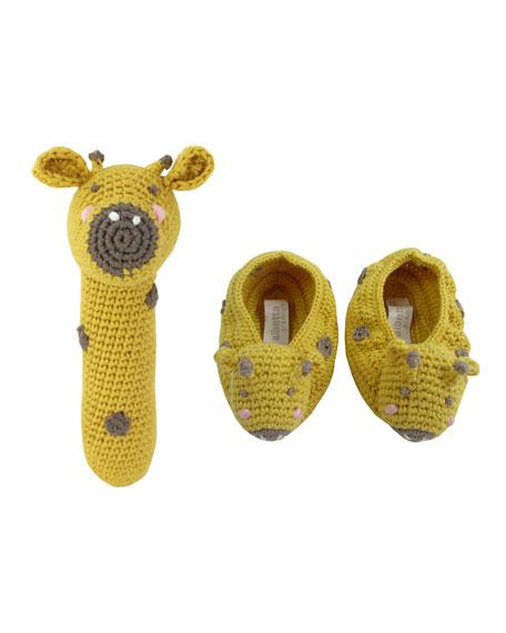 Albetta Crochet Giraffe Rattle w/ Matching Booties, Baby