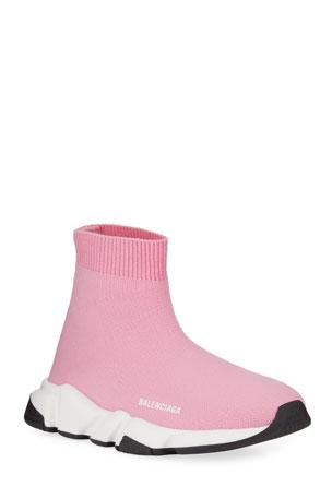 Balenciaga Speed Sock Sneakers, Toddler/Kids, Pink/White