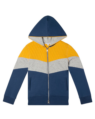 Boy's Colorblock Hooded French Terry Jacket  Size 2-10