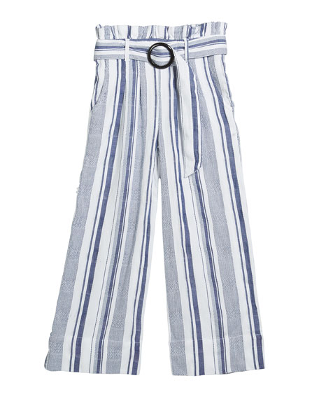 Habitual Girl's Striped Paper Bag Belted Pants, Size 7-14