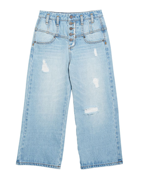 Habitual Girl's Multi Snap Wide-Leg Distressed Jeans, Size 7-14