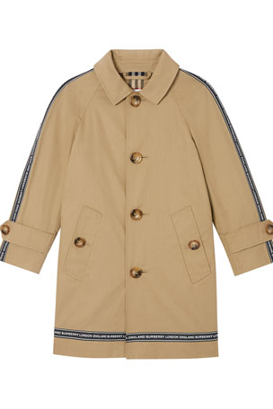 Burberry Boy's Bradley Trench Coat w/ Logo Tape Trim, Size 3-14