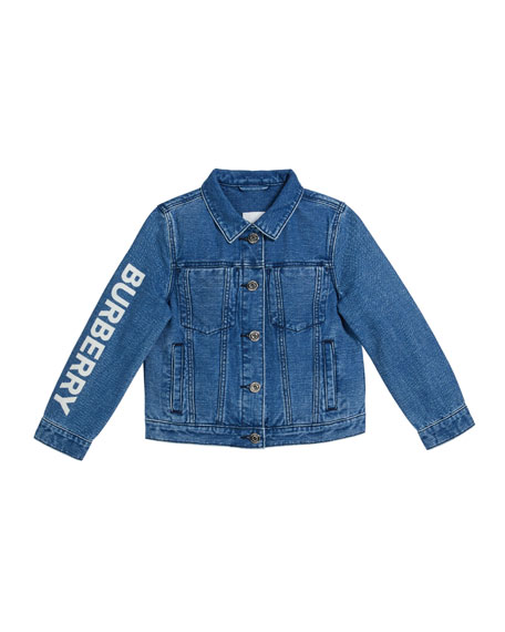 Burberry Boy's Dillen Indigo Denim Logo Jacket, Size 3-14