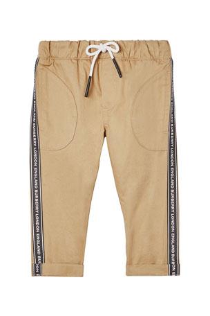 Burberry Boy's Dash Drawstring Pants w/ Logo Taping, Size 6M-2
