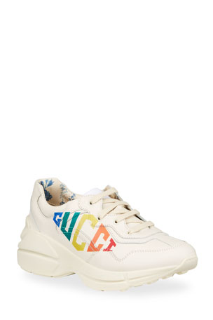 Gucci Rhyton Rainbow Logo Chunky Leather Sneakers, Toddler/Kids