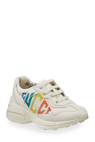 Gucci Rhyton Rainbow Logo Chunky Leather Sneakers, Baby/Toddler