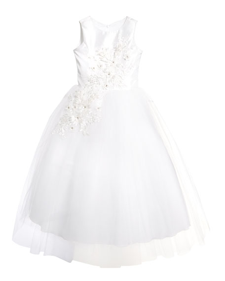 Image 2 of 2: White Label by Zoe Girl's Bella Tulle 3D Applique Dress, Size 6-12