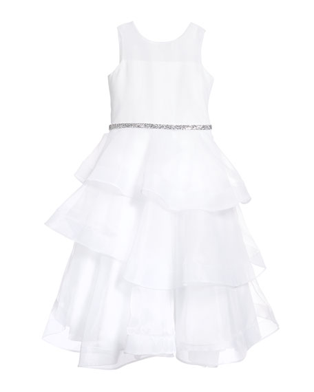 Image 2 of 2: White Label by Zoe Girl's Ella Organza Tiered Dress, Size 7-12