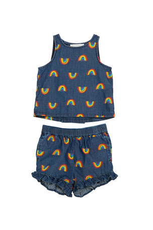 Stella McCartney Kids Baby Girl's Rainbow Chambray Tank & Short Set, Size 12-36 Months