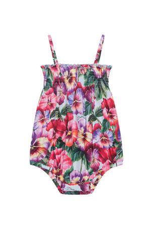 Dolce & Gabbana Girl's Pansy Print Shirred Sun Romper, Size 6-24 Months