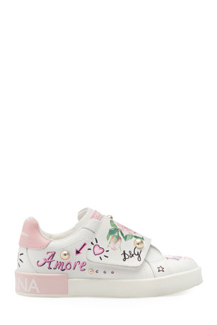 Dolce & Gabbana Floral Print Grip-Strap Leather Sneakers, Toddler/Kids