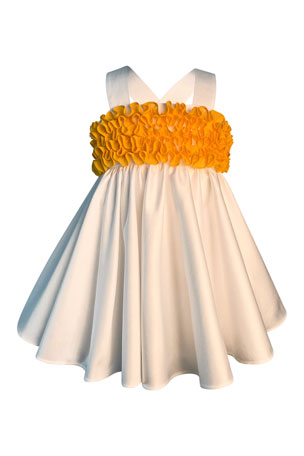 Helena Girl's Cotton Sateen Sun Dress w/ Bright Ruffles, Size 2-6