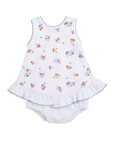 Kissy Kissy Blue Blossoms Printed Bubble Romper, Size 3-18 Months
