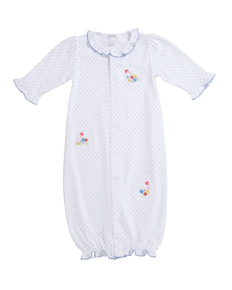 Kissy Kissy Blue Blossoms Printed Convertible Gown, Size Newborn - Small