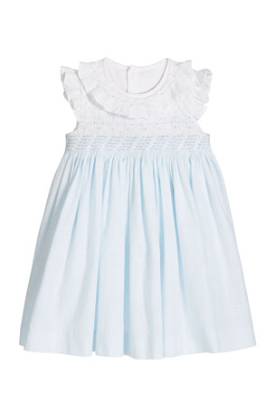 Luli & Me Girl's Blue/White Smocked Dress, Size 3-18 Months