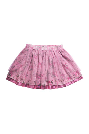 Imoga Girl's Heidi Chiffon-Mesh Mix Tiered Skirt, Size 2-6