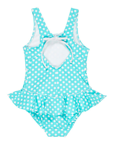 Image 2 of 2: Florence Eiseman Polka Dot Ruffle-Skirt One-Piece Swimsuit, Size 2-6X