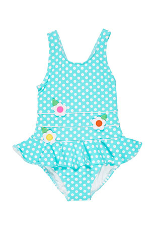 Florence Eiseman Polka Dot Ruffle-Skirt One-Piece Swimsuit, Size 2-6X