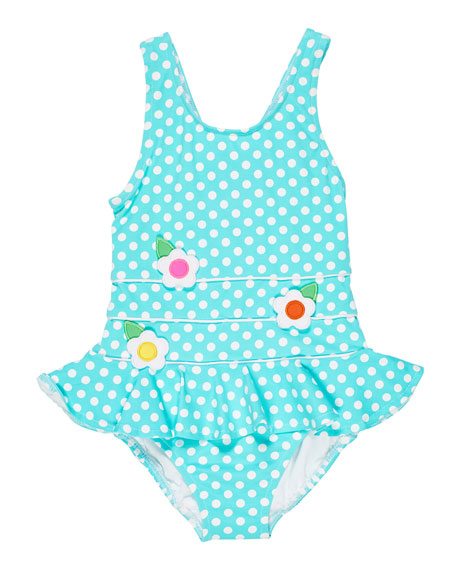 Image 1 of 2: Florence Eiseman Polka Dot Ruffle-Skirt One-Piece Swimsuit, Size 2-6X