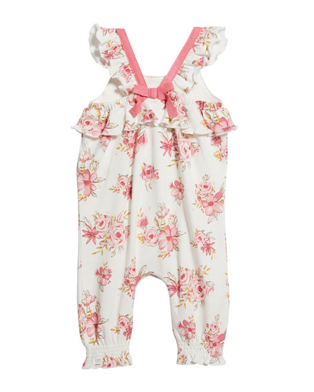 Image 2 of 2: Floral Print Ruffle Romper, Size 3-24 Months