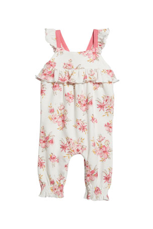 Miniclasix Floral Print Ruffle Romper, Size 3-24 Months