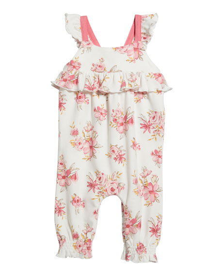 Image 1 of 2: Floral Print Ruffle Romper, Size 3-24 Months