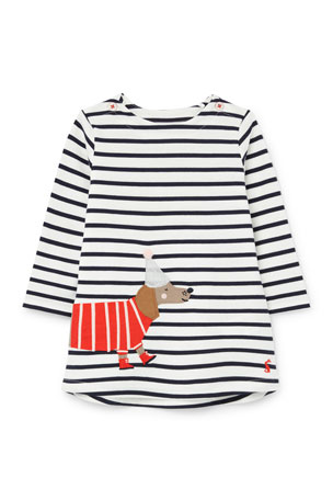 Joules Girl's Kaye Striped Dog Applique Dress, Size 3-24 Months