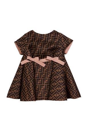 Fendi Girl's FF Neoprene Dress w/ Bows, Size 12-24 Months