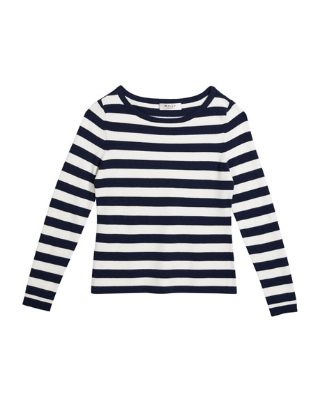 Image 1 of 2: Milly Minis Girl's Striped Boat-Neck Long-Sleeve Top, Size 10-16