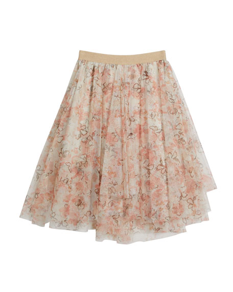 Brunello Cucinelli GIRL'S FLORAL PRINTED TULLE SKIRT