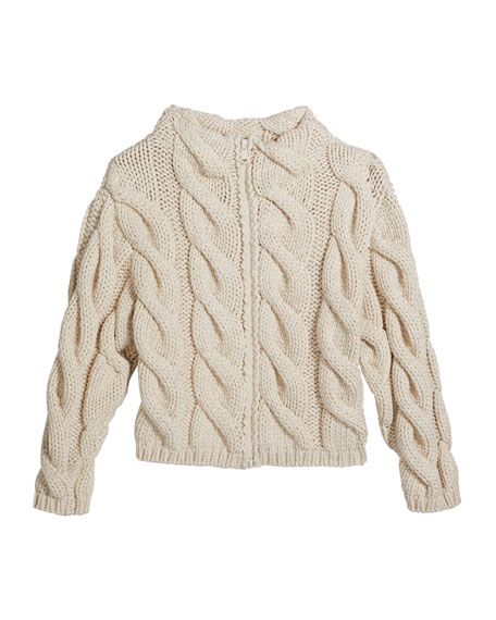 Brunello Cucinelli Girl's Zip-Front Chunky Cable Knit Cardigan, Size 4-6