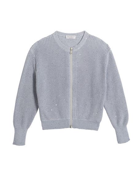 Brunello Cucinelli Girl's Cotton Paillette Zip-Front Cardigan, Size 12-14