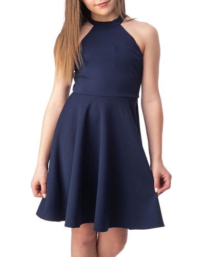 Girl's Halter Keyhole-Back Dress  Size 7-16