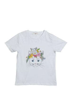 Charabia Girl's Floral Kitten Screen Graphic Tee, Size 4-12