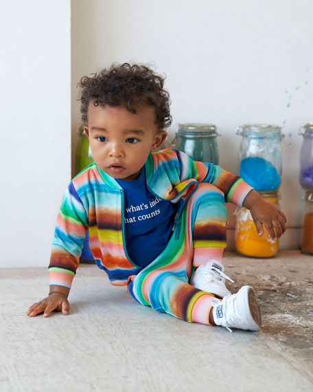 Image 2 of 3: Boy's Duff Multi-Stripe Zip-Front Sweatshirt, Size 6-24 Months