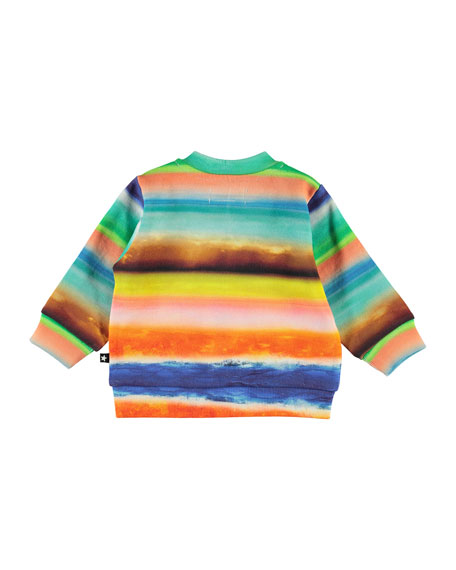 Image 3 of 3: Boy's Duff Multi-Stripe Zip-Front Sweatshirt, Size 6-24 Months