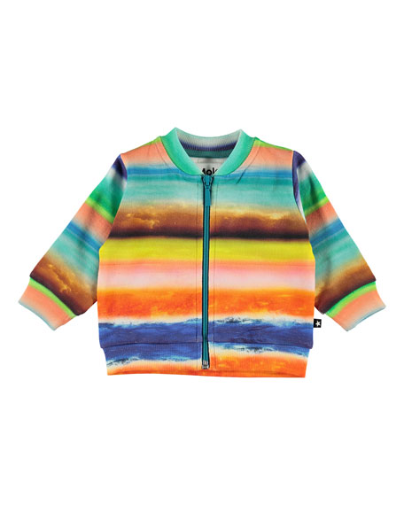 Image 1 of 3: Boy's Duff Multi-Stripe Zip-Front Sweatshirt, Size 6-24 Months