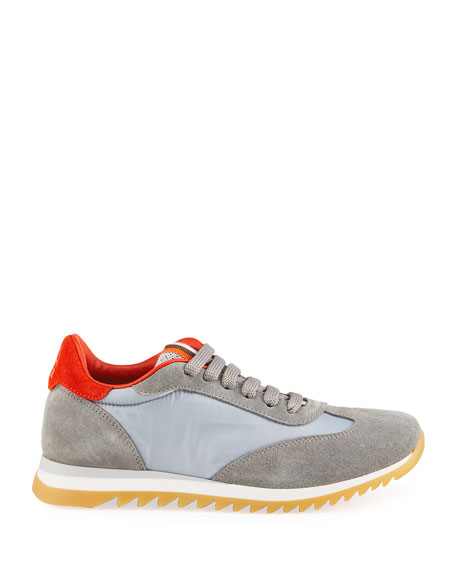 Image 2 of 4: Brunello Cucinelli Boy's Calf Leather & Suede Sneakers, Toddler/Kids