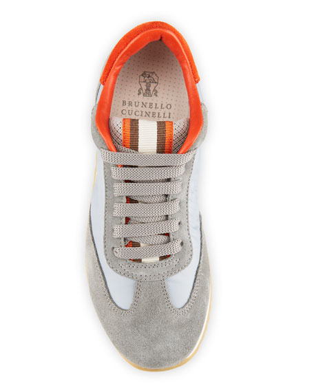 Image 3 of 4: Brunello Cucinelli Boy's Calf Leather & Suede Sneakers, Toddler/Kids