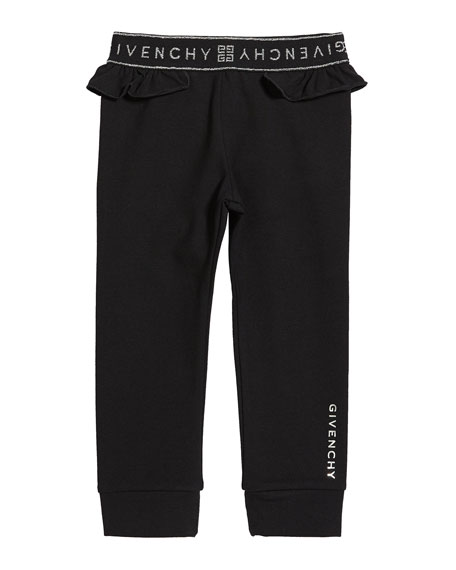Image 1 of 2: Givenchy Girl's Ruffle-Trim Logo Pants, Size 2-3